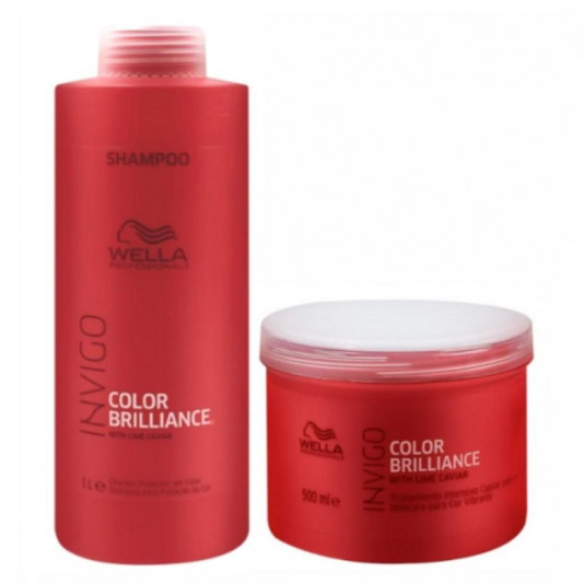 Kit Wella Invigo Color Brilliance Shampoo 1L e Máscara 500G
