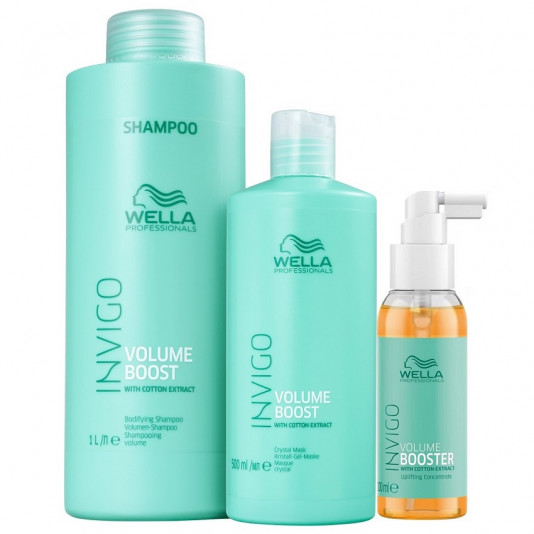 Wella Invigo Volume Boost Shampoo 1 Litro Máscara 500 g e Booster 100 ml