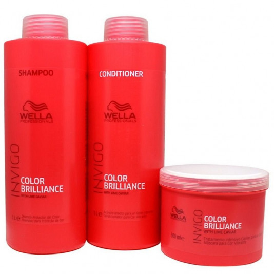 Kit Wella Invigo Color Brilliance Shampoo 1L Condicionador 1L e Máscara 500G