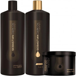 Kit Shampoo e Condicionador 2x1000ml + Máscara 500ml Sebastian Dark Oil