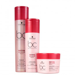 Kit Schwarzkopf Bonacure Peptide Repair Rescue Shampoo Micellar 250 ml Condicionador 200 e Máscara 200 ml