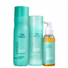 Kit Wella Professionals Invigo Volume Boost Shampoo 250ml Máscara 145g e Booster 100 ml