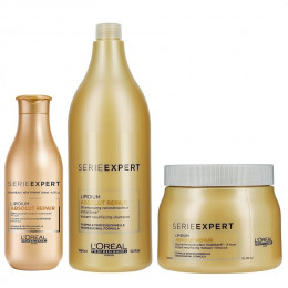 L'Oreal Absolut Repair Cortex Lipidium Kit Profissional (Shampoo 1,5 litros, Condicionador 200  ml e Máscara 500 ml)