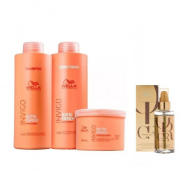 Kit Wella Invigo Nutri Enrich Shampoo + Cond 1 L + Másc 500ml + Óleo Oil Reflections Luminous 100ml