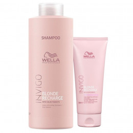Kit Wella Professionals Invigo Blonde Recharge Shampoo 1 Litro e Condicionador 200 ml